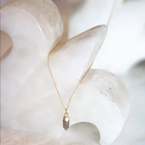 Gold Chain Smoky Quartz Crystal Necklace